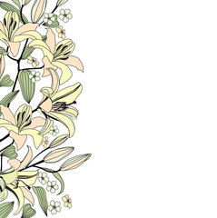 Spring background. Flowers lily frame. Floral vector border