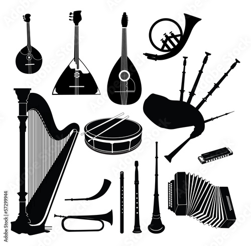 Music instruments vector set. Musical instrument silhouettes