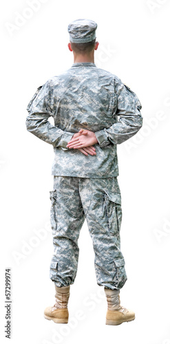 US Army soldier in Parade rest position.