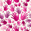 Breast cancer awareness ribbon women hands seamless pattern.