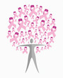 Breast cancer awareness ribbon woman tree shape vector file.