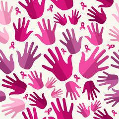 Breast cancer awareness ribbon women hands seamless pattern.