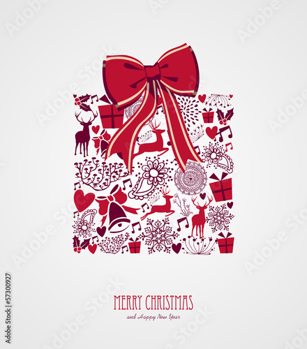 Retro Christmas present composition vector file.