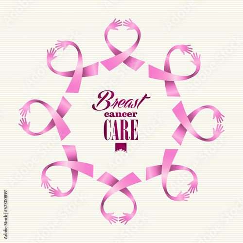 Breast cancer awareness ribbon women hands circle shape.
