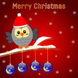 Merry christmas card with bird and balls