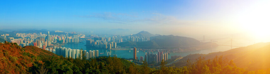 Panorama View of Downtown Kowloon Hongkong from Tsuen Wan
