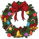 vector cartoon christmas wreath