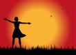 silhouette femminile al tramonto