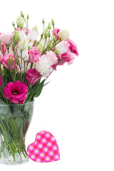Pink eustoma flowers with pink heart box