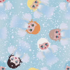 Cute little Angels / Christmas seamless background with Cherub