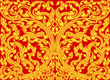 Asian art shaped olden pattern on a red background