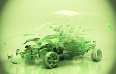 Prototipo Auto Trasparente, Componenti, progetto 3d, motori