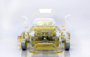 Prototipo Auto Trasparente, progetto 3d, tuning, motori