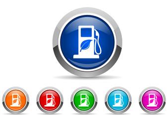 biofuel icon vector set