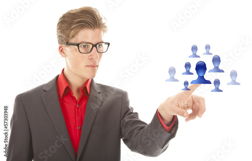 Young man selecting blue virtual friends isolated