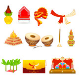 vector illustration of Indian wedding object