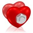 fest miteinander verschraubte Herzen