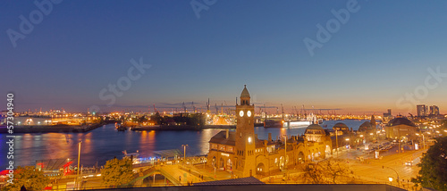 canvas print picture Panorama of the Hamburg harbor