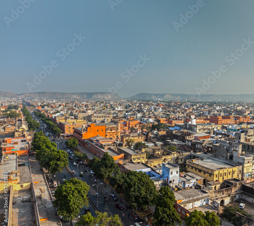 Aerial view of Jaipur  (Pink city), Rajasthan, India