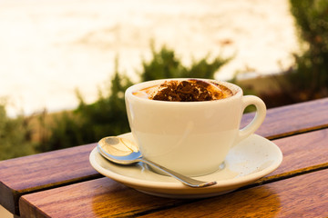 Coffee cream on the beach