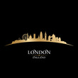 roleta: London England city skyline silhouette black background