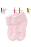 baby socks with pink clothespins