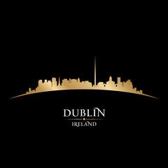 Dublin Ireland city skyline silhouette black background