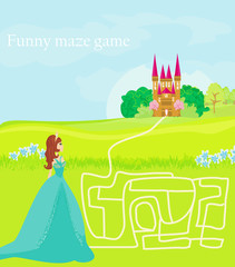 Funny maze game: the beauty princess find the way to her castle