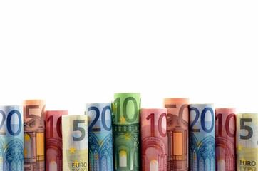 Euroscheine in Reihe