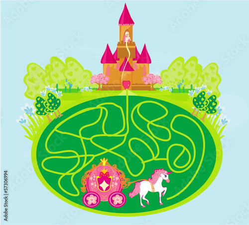 Funny maze game - princess waits in a castle
