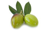 Green olives isolated