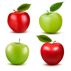 Set of red and green apple fruits with cut and green leaves. Vec