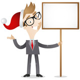 Businessman, santa hat, sign, board
