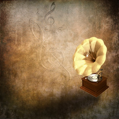 grunge background with retro gramophone