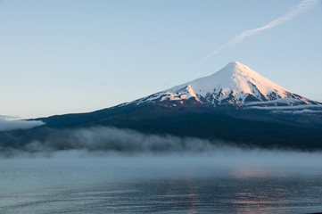 Osorno volcano with  Lago Lianquihue in the morning mist