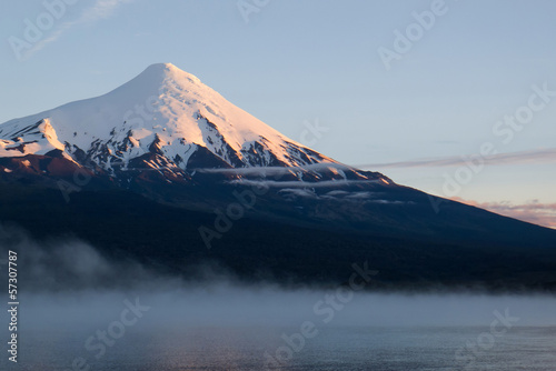 Osorno volcano in the morning mist