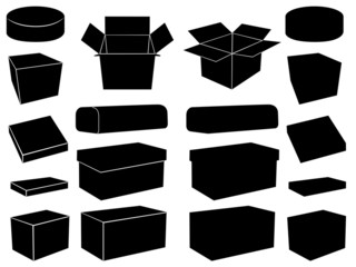 Boxes set illustrated on white