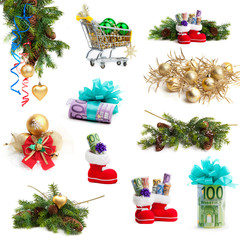 Christmas collection isolated on white background.  money as a g
