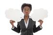 Farbige Frau isoliert mit Schild - witzig, Grimasse, Humor