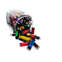 Recycling and renewable energy sources, aa batteries background