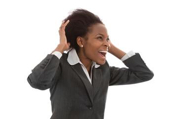 Begeisterte jubelnde afro amerikanisch Frau isoliert