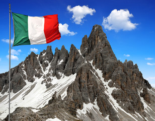 Paternkofel with Italy flag,Dolomite Alps,Italy