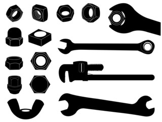 Screw nut and wrench set illustrated on white