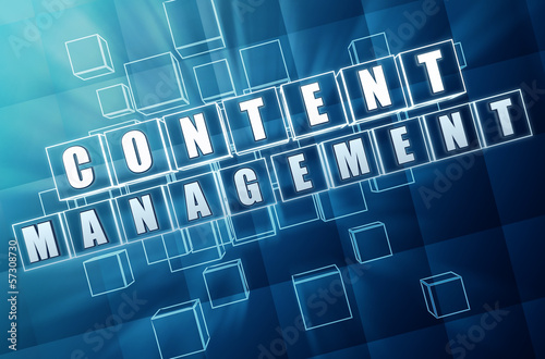 content management in blue glass cubes - internet concept