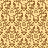 Seamless damask floral pattern in beige colors.