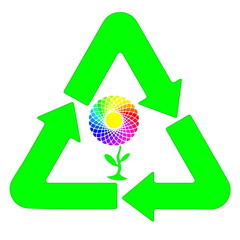 Recycling and renewable energy sources, rainbow flower motif