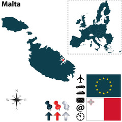 Map of Malta with European Union