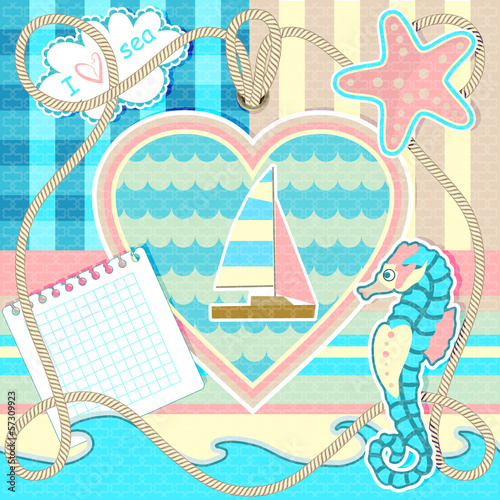 Frame with seahorse and starfish