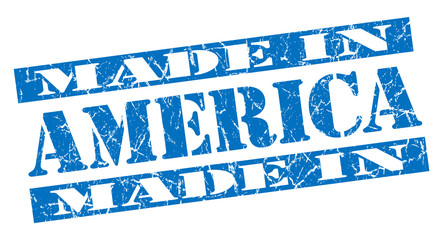 made in America grunge blue stamp