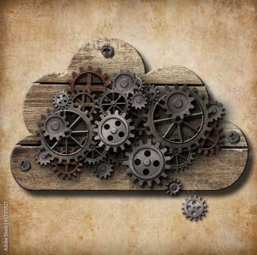 wooden cloud with rusty gears attached to grunge background